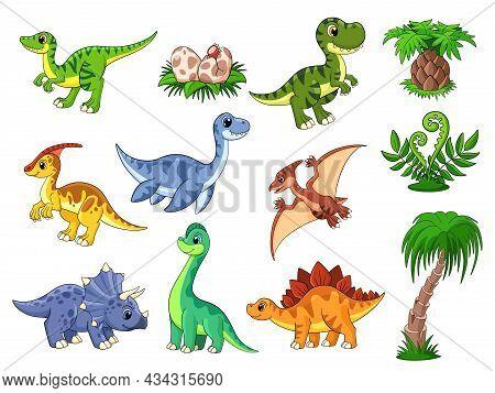 Cartoon Dinosaurs. Cute Dino, Dinosaur And Palm. Color Wildlife Characters, Prehistoric Predator. Fu