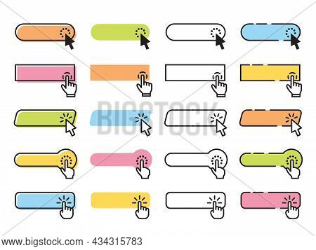 Click Buttons. Clicked Button, Website Buy Interface Elements. Internet Page Bar, Cursor Pointer And