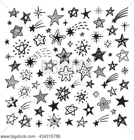Sketch Stars Collection. Hand Drawn Star, Sky Drawing Comet With Burst. Scribble Space Elements, Iso