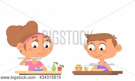 Boy Girl Eating. Family Eat, Home Healthy Food. Cartoon Sister And Brother At Table, Breakfast Lunch