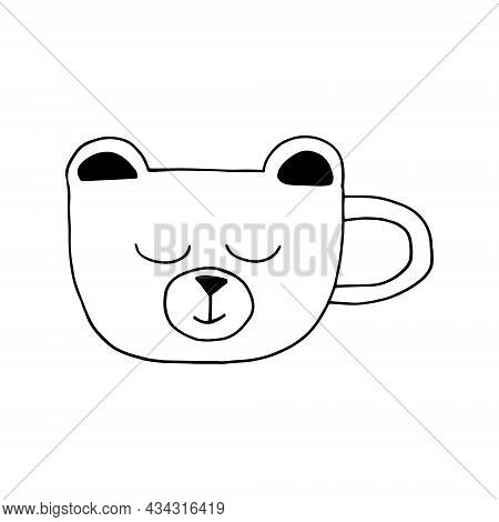 Cup In The Form Of A Face Of A Bear Hand Drawn Doodle. Vector, Minimalism. Hot Drink, Cocoa, Coffee,