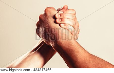 Hands Or Arms Of Man. Muscular Hand. Arm Wrestling. Two Men Arm Wrestling. Rivalry, Closeup Of Male