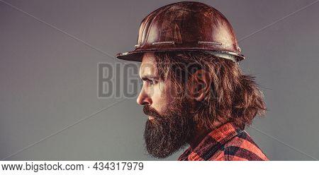 Man Builders, Industry. Builder In Hard Hat, Foreman Or Repairman In The Helmet. Building, Industry,