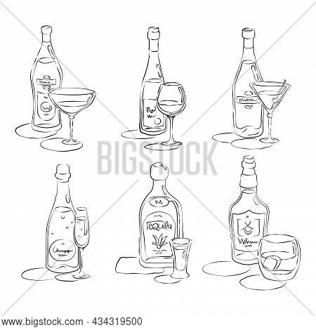 Bottle And Glass Vermouth, Wine, Martini, Champagne, Tequila, Whiskey Together In Hand Drawn Style.