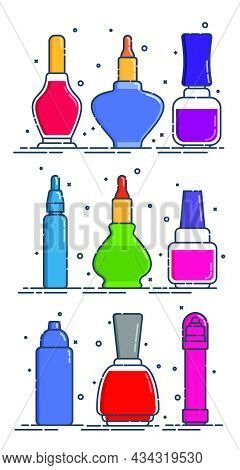 Set Of Cosmetic Containers Nail Polish. Female Fashion Product. Nine Plastic Or Glass Bottle In Coll