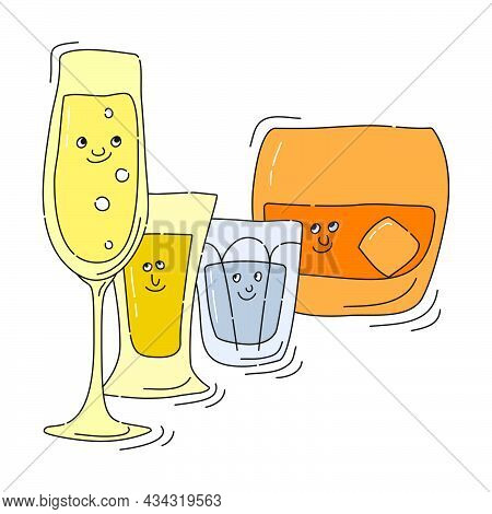 Champagne Tequila Vodka Whiskey Glassware With Smile Face On White Background. Cartoon Sketch. Doodl