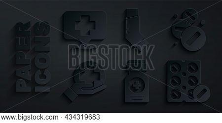 Set Medicine Bottle, Pill Or Tablet, Cross Hospital Medical, Pills Blister Pack, Inhaler And Map Poi