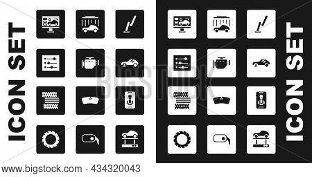 Set Windscreen Wiper, Check Engine, Car Settings, Diagnostics Condition Of Car, Broken, Wash, Online