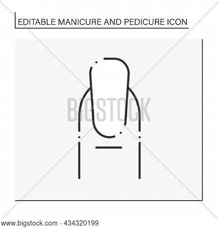Nail Shapes Line Icon. Classical Oval Shape. Modeling, Shortening Shape And Length Of Nails. Polishi