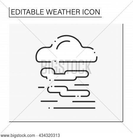 Fog Line Icon. Haze. Mist Weather. Hazed Sky With Clouds. Weather Forecast. Weather Concept. Isolate