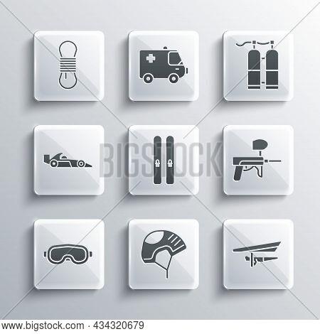 Set Helmet, Hang Glider, Paintball Gun, Ski And Sticks, Goggles, Formula 1 Racing Car, Climber Rope