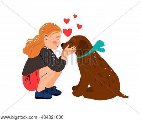 Girl Dog Love. Littl Mistress Hugging Puppy Vector Illustration, Cute Child Cuddle Pet Animal, Child
