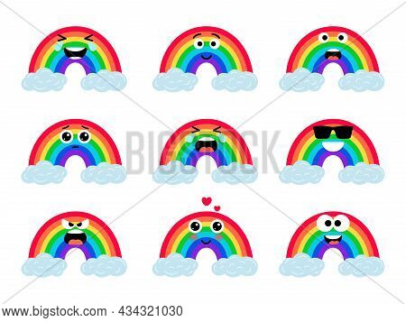 Rainbows Funny Faces. Cute Rainbow Character With Eyes On Clouds, Kawaii Smiling Rain Bow Set Colorf