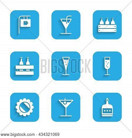 Set Glass Of Champagne, Martini Glass, Alcohol Drink Rum Bottle, Bottle Cap, Pack Beer Bottles, Bott