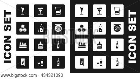 Set Glass Of Vodka, Vodka With Pepper And Glass, Wooden Barrels, Champagne, Street Signboard Bar, Co