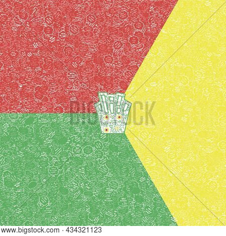 French Fries Shaped Qr Code In Geometric Shapes In Hues Of Red Yellow Green Illustrated With Thought