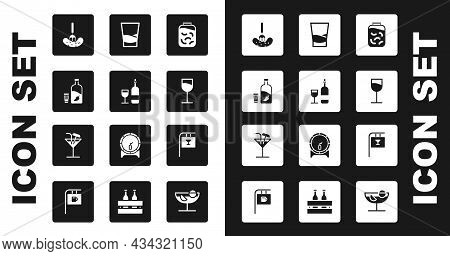Set Pickled Cucumbers In A Jar, Wine Bottle With Glass, Vodka Pepper And, On Fork, Glass Of Vodka, S