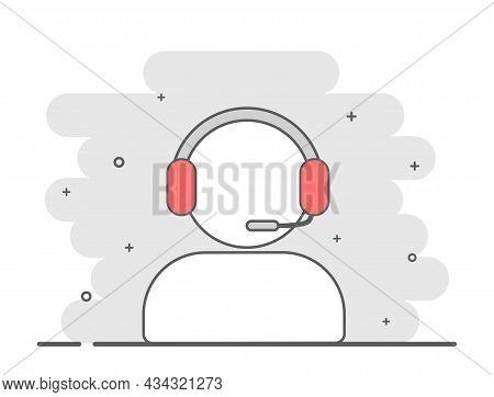 Operator With Microphone Icon. Sticker With Silhouette Of Person Talking To Client. Employee Of Supp