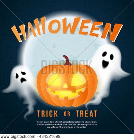 Happy Halloween Scary Jack Lantern Full Moon Background And Spirit Ghost