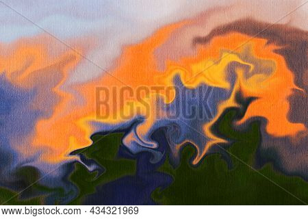 Bright Abstract Background In Style  Fluid Art.  Digital Painting.