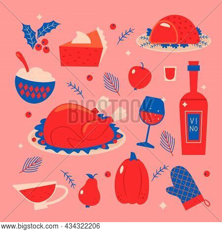 Thanksgiving And Christmas Holiday Table Symbols. Turkey, Cranberry Sauce, Pumpkin, Baked Meat, Mash
