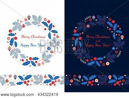 Christmas Wreath And Seamless Pattern For Christmas And New Year Abstract Stylized Christmas Tree Wi