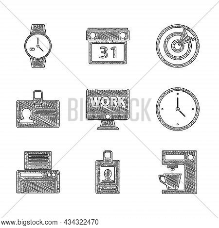 Set Monitor With Text Work, Identification Badge, Coffee Machine, Clock, Printer, Target Sport And W