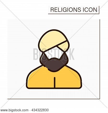 Sikhism Color Icon. Traditional Headdress For Sikhism Religious Believers. Turban. Dastar. Religion