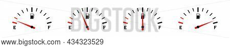 Fuel Gauge. Set Of Fuel Gauge Indicators. Scale With Arrow, Empty And High Level Of Fuel. Gas Tank G