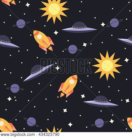 Seamless Illustration Of Space. A Space Rocket, The Sun, Saturn And Many Stars Are Depicted On A Dar