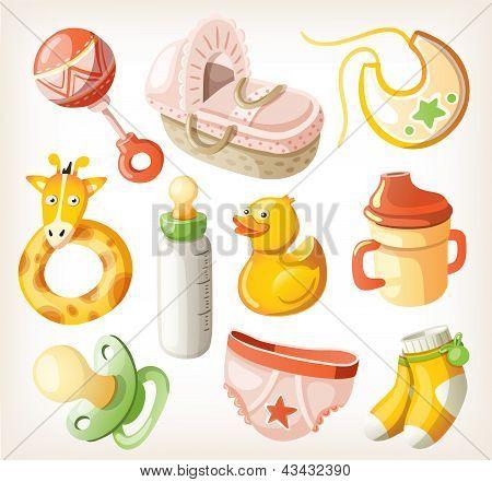 Set of design elements for baby shower. Vector illustration.