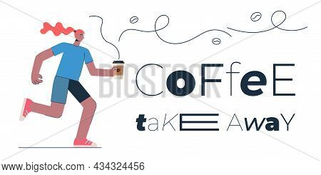 Coffee To Go Banner Design Concept For Shop, Cafe, Restaurant Or Bar. Woman With Americano Or Cappuc