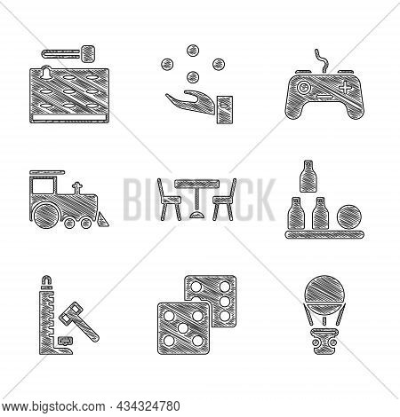 Set Picnic Table With Chairs, Game Dice, Hot Balloon, Bottles, Striker Attraction Hammer, Toy Train,