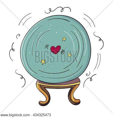 Glass Ball For Predictions, Crystal Gypsy Hand Drawn Oracle Cartoon