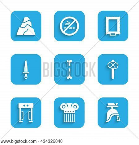Set Human Broken Bone, Ancient Column, Roman Army Helmet, Stone Age Hammer, Metal Detector, Dagger,