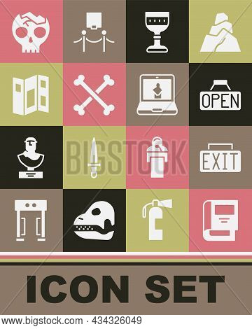 Set History Book, Exit Sign, Hanging With Open, Medieval Goblet, Crossed Human Bones, Museum Guide B