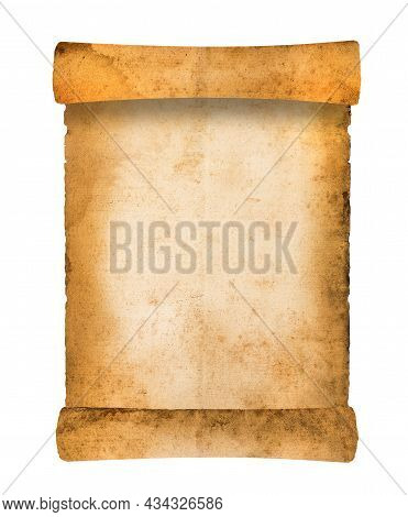 Old Rolled Parchment  Isolated On  White Background