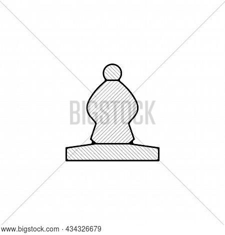 Bishop Chess Piece Vector Thin Line Icon. Bishop Hand Drawn Thin Line Icon.