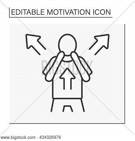 Fear Motivation Line Icon. Fear Drives People Into Action. Negative Motivator Uses Punishment For Go