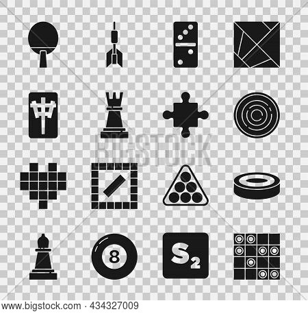 Set Board Game Of Checkers, Checker Chips, Domino, Chess, Mahjong Pieces, Racket And Puzzle Toy Icon