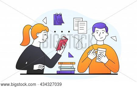 Professional Development Concept. Woman Reads Book, And Man Writes Down Important Thoughts To Improv