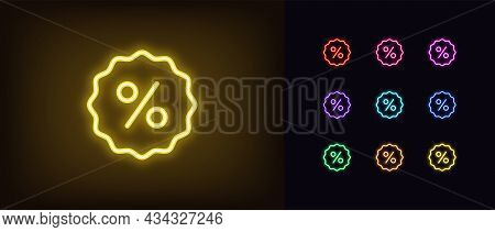Outline Neon Percentage Icon. Glowing Neon Percentage Sign, Discount Tag Pictogram In Vivid Colors.