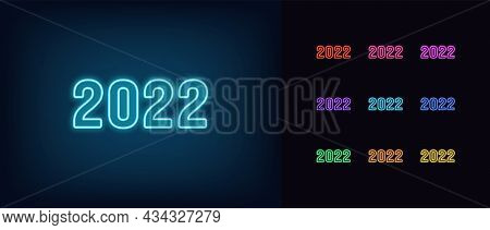 Outline Neon 2022 Icon. Glowing Neon 2022 Year Sign, Number Set In Vivid Colors. Isolated Digits Wit