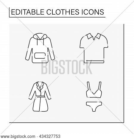 Clothes Line Icons Set. Trendy Outfits. Hoodie, Polo Shirt, Underwear And Trench. Fashionable Clothi