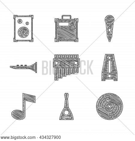 Set Pan Flute, Balalaika, Vinyl Disk, Metronome With Pendulum, Music Note, Tone, Clarinet, Microphon