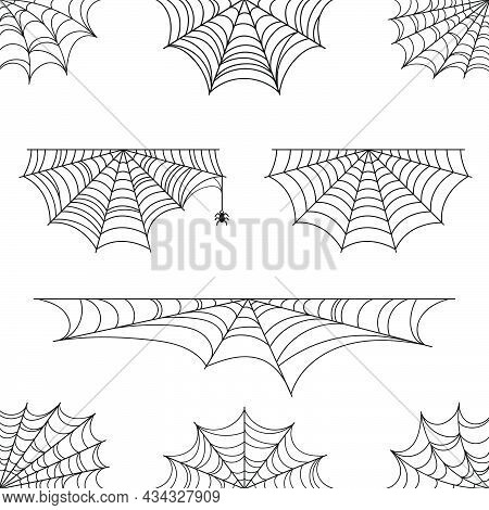 Spider Web For Halloween. Set Of Halloween Cobweb, Frames And Borders. Halloween Elements For Decora