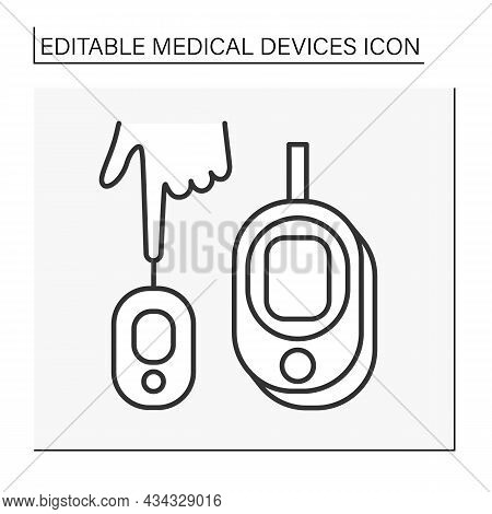 Instrument Line Icon. Blood Sugar Or Glucose Test. Analysing Human Blood. Medical Devices Concept. I