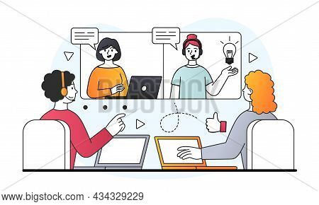 Online Video Conference Or Meeting Concept. Employees Of Company At Remote Work Discuss Details Of P