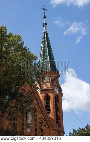 Detail Of The Tower Of The Church Of The Visitation Of The Holy Mary In Breclav-postorná Is Built In