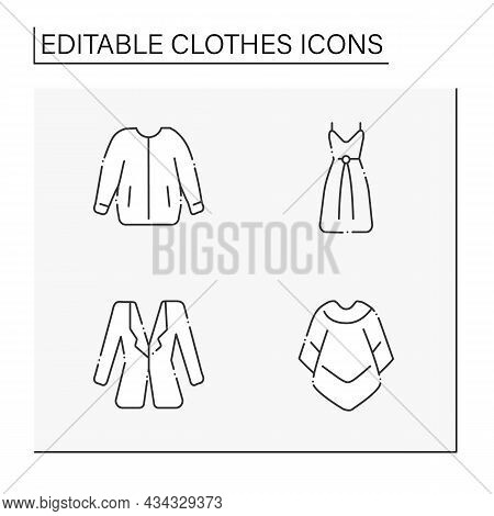 Clothes Line Icons Set. Trendy Outfits. Bomber Jacket, Drawstring Dress, Mucho Poncho And Blazer. Fa